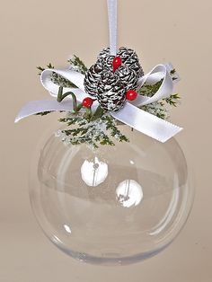 83 MM Acrylic Ornament featuring Tiny Pinecones, Red Berries and White Satin Bows. From the Snowy Christmas Collection