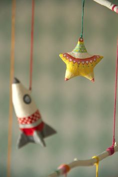 paper mache star and rocket from baby's mobile by marysmerryland.blogspot.gr