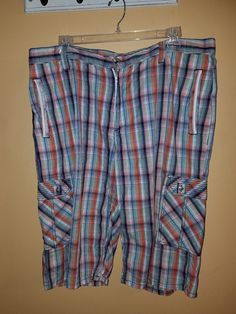 9b2397b22d7a COOGI Men s Plaid Long Baggy Cargo Shorts Size 42  COOGI  Cargo Plaid
