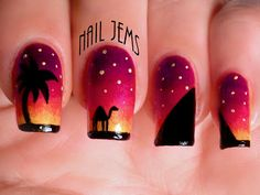 Arabian Nights Gradient and Sillhouettes - Nail Jems