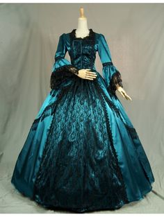 Blue Trumpet Sleeves Victorian Ball Gowns with Black Lace - Devilnight.co.uk