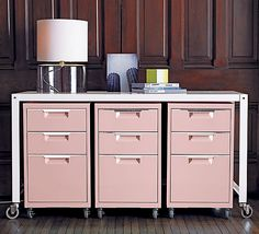 pretty pink filing cabinets