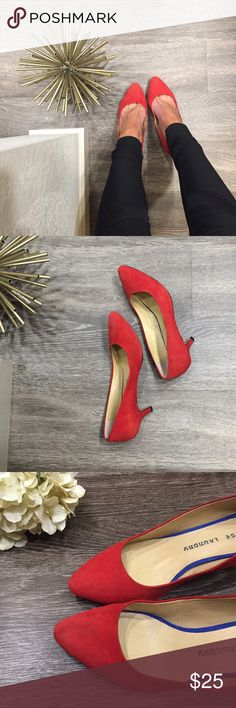"""Red Suede Kitten Heel Pumps, Size 6.5 Red Suede Kitten Heel Pumps, Size 6.5. Cute and comfortable, the perfect combination for working long hours on your feet! Kitten heel measuring 2"""". Excellent condition, only worn a few times. Chinese Laundry Shoes Heels"""