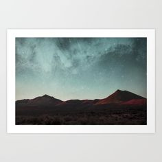 Universe above the mountain peaks Art Print by SpaceTime. Worldwide shipping available at Society6.com. Just one of millions of high quality products available.