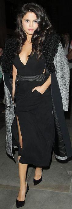 Who made Selena Gomez's black dress, pumps, and gray coat?