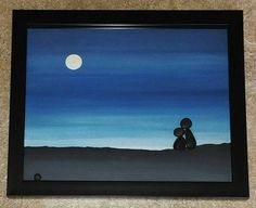 FREE SHIPPING  One of a kind special piece with a sweet pebble couple in the outdoors under the moon. The background is hand painted in acrylics.  The glass enclosed shadow box frame measures approximately 8x10x1.5, and is ready for display on a wall, or table.  Thank you so much for looking. Please message with any questions....P.S. I love special requests. Dont forget to check out my;shop