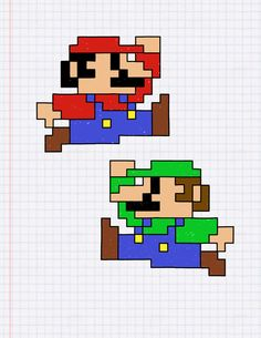 I don't even know why Mario always pops into my mind when I draw things on graph paper (and then Luigi comes right after). -Henrick Dulin Mario and Luigi: The Graph Paper Edition Paper Luigi, Paper Mario, Mario Bros., Mario And Luigi, Mario Smash, Graph Paper Drawings, Pencil Art Drawings, Perler Bead Mario, Super Mario Bros