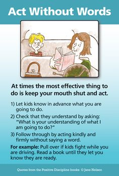 Act Without Words - A Positive Discipline Tool Card | Positive Discipline