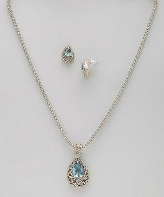 Simulated Aquamarine Scroll Necklace & Earrings
