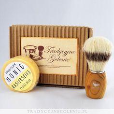 Zestaw pędzel HJM z drewnianą rączką + mydło miodowe Haslinger. Zestaw opakowany w firmowe pudełko RETRO.