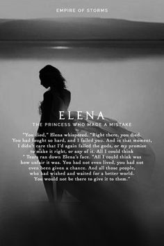 Elena. I don't want to like her, but I know that she's just a girl who made a huge mistake and will have to face the consequences for eternity.