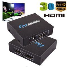 XPF2017 New Arrivals 2 Output 1 Input HDMI Splitter Amplifier 2 Way Switch Box Hub 1x2 HDTV PS3 1080P Free Shipping NOA29