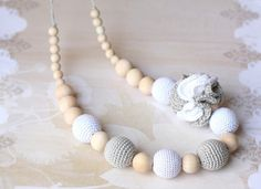 I need this!!!  Crochet Nursing necklace White Gray necklace by ForeverValues, $25.00