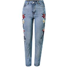 Light Blue Floral Embroidery Acid Wash High Waist Chic Jeans (56 CAD) ❤ liked on Polyvore featuring jeans, pants, bottoms, high-waisted jeans, embroidered jeans, embroidered pocket jeans, embellish jeans and flap-pocket jeans