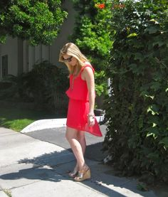Hi - low dress in Coral + wedges