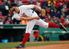 Boston Red Sox's Justin Masterson pitches during the first inning of a baseball game against the Baltimore Orioles in Boston, Monday, April 20, 2015. (AP Photo/Michael Dwyer)  Boston Red Sox Team Photos - ESPN