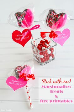 Valentine's Day Marshmallow Hearts on a Stick