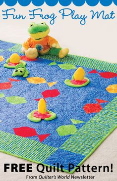 Fun Frog Play Mat Download from Quilter's World newsletter. Click on the photo to access the free pattern. Sign up for this free newsletter here: AnniesNewsletters.com.