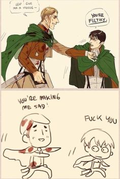 """Erwin chases Levi playfully, drenched in titan blood that would soon evaporate. """"Come on Levi! Just one hug!"""