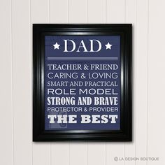 Father's Day Gift  DIY fast and easy and customizable $5 DAD Typography Art Father's Day Gift by LaDesignBoutiqueShop