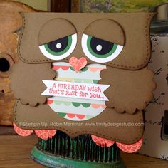 Adorable Owl Punch Art Card - Trinity Designs