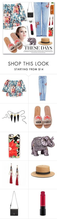 """Florals & Beach Walks"" by nity01 ❤ liked on Polyvore featuring Elizabeth and James, Citizens of Humanity, Christian Louboutin, Kate Spade, Casetify, Boho Boutique, Hinge, Carven and MAC Cosmetics"