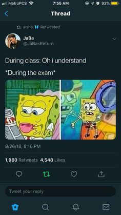 """Okay but he also guessed how to say """"very good"""" in portuguese so I'm not surprised anymore. We already know he is a genius. Funny Spongebob Memes, Stupid Funny Memes, Funny Relatable Memes, Funny Tweets, Funny Posts, The Funny, Funny Quotes, Hilarious, Funny Stuff"""