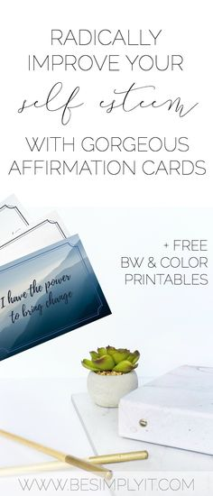 Take self-care and self improvement into your own hands. Improve your self esteem with these gorgeous affirmation cards! They're easy to use and free to print from Be Simply It!