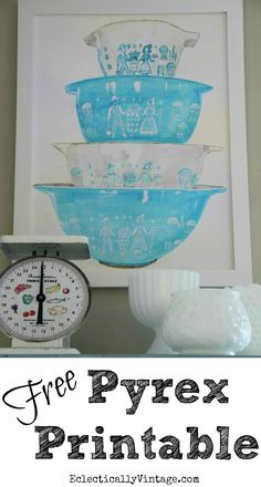 FREE Vintage Pyrex Printable in turquoise butterprint pattern. Print it, frame it, hang it in the kitchen or give to favorite chef, baker, or vintage lover. Vintage Dishes, Vintage Glassware, Vintage Kitchen, Vintage Pyrex, Vintage Tins, Printable Art, Free Printables, Pyrex Bowls, Sweet Home