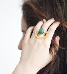 Round out an edgy outfit with Yuka by Guliz's half-circle aventurine ring. #etsyjewelry