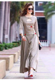 Shop trendy gray colored partywear rayon long kurti , freeshipping all over the world , Item code Salwar Designs, Kurta Designs Women, Kurti Designs Party Wear, Dress Neck Designs, Designs For Dresses, Blouse Designs, Indian Designer Outfits, Designer Dresses, Designer Kurtis