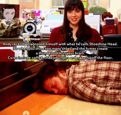 Andy and April. Shoeshine Head. Parks and Rec