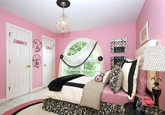 interesting drapes #teenroom #girl #teenager #bedroom #chandelier #drapes #pink #black