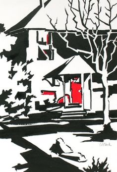 Daily Painting, The Red Door, contemporary urban scene in ink, painting by artist Carolee Clark