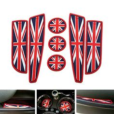 iJDMTOY 7pc Soft Silicone Red/Blue Union Jack Style Cup Holder Coasters, Side Door Compartment Mats For MINI Cooper R55 R56 R57 R58 R59