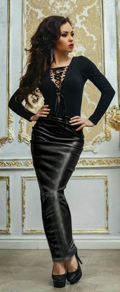 Long leather hobble skirt