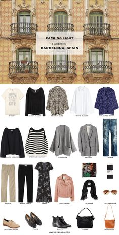 What to Pack for Barcelona, Spain Packing Light List | What to pack for Barcelona | What to Pack for Spain | Packing Light | Packing List | Travel Light | Travel Wardrobe | Travel Capsule | Capsule |