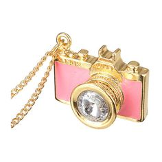 Rhinestone Camera Shaped Pendant Sweater Necklace ($3.77) ❤ liked on Polyvore featuring jewelry, necklaces, pendant jewelry, vintage pendants, pendant necklace, vintage pendant necklace and vintage jewelry