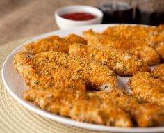 These low carb, keto friendly chicken tenders are crispy and full of flavor. My husband, who usually doesn't care for baked chicken tenders, LOVED these! Easy Cauliflower Pizza Crust, Sugar Free Ketchup, Crispy Chicken Tenders, Chicken And Cabbage, Cabbage Casserole, Brownie Bites, Crockpot Recipes, Copycat Recipes, Low Carb Recipes