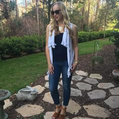 My #ootd from yesterday!  Vest and tank: @lillypulitzer  Jeans: @nordstrom #articlesofsociety  Shoes: @stevemadden #dswshoelovers  Necklace: @baublebar #monogram  Sunnies: #tedbaker  Watch: @michelewatches  Bracelets: @davidyurman