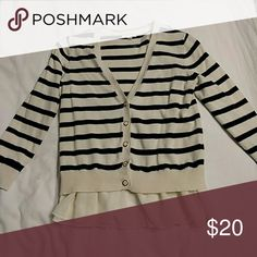 Cardigan with ruffles Navy and cream striped button down cardigan Maison Jules Sweaters Cardigans