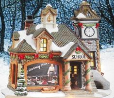 Norman Rockwell Collections Porcelain Lights Christmas House Happy Birthday Miss Jones Evening Post Department 56 Christmas Village, Christmas Village Display, Christmas Villages, Christmas Home, Christmas Decorations, Norman Rockwell, Miss Jones, Ceramic Houses, House Painting