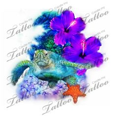 Realistic hibiscus, ocean, coral reef , turtle in stunning color | tattoo #157389 | CreateMyTattoo.com