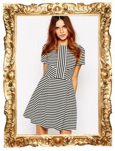 Warehouse Striped Skater Dress - $81