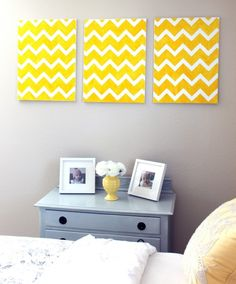 DIY Chevron Wall Art « Craftistas Inspiration....thinking of this in yellow & navy for master bedroom!