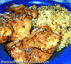 BAKED CHICKEN THIGHS WITH RICE - The Southern Lady Cooks