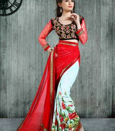 Buy Multicolor printed chiffon saree with blouse printed-saree online