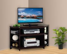 "45"" Wood Corner TV Stand Entertainment Center With Shelves - Cherry Finish. Make your entertainment area headache free and neat with this Pilaster Designs 45"" espresso finish corner TV stand. Its uniq"