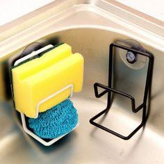 Spuelorganizer-Kueche-Regal-Saugnapf-Handtuchhalter-Schwammhalter-Schwammablage