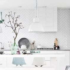 Chevron style tiling on kitchen splash back - LOVE!
